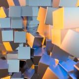 A platina do ouro de prata ou branco obstrui o fundo dos cubos Ilustração da modelagem 3d conceito rico do bitcoin da mineração d ilustração royalty free