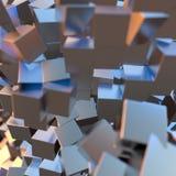 A platina do ouro de prata ou branco obstrui o fundo dos cubos Ilustração da modelagem 3d conceito rico do bitcoin da mineração d ilustração do vetor