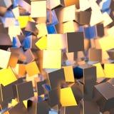 A platina do ouro de prata ou branco obstrui o fundo dos cubos Ilustração da modelagem 3d conceito rico do bitcoin da mineração d ilustração stock