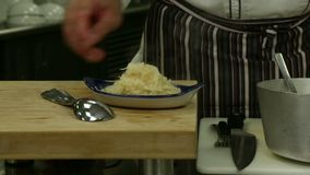 Plating Sauerkraut stock footage