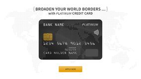 Platinum bank card vector illustration. Bank credit debit card promotion creative concept with world map on the background. Plastic platinum contactless card Stock Photo