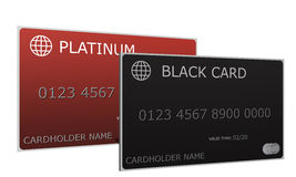 Platinum and Black Credit Cards. 3D Platinum and Black Credit Cards sitting side by side with cardholder name, numbers, date and logos Royalty Free Stock Images