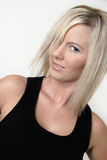 Platinum blonde model in black tank top Royalty Free Stock Photos