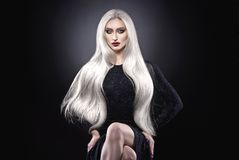 Platinum blonde hair woman. Stock Images