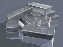 Platinum bullion. Illustration of platinum reserves piled in a stack Royalty Free Stock Photo