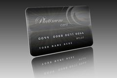 Platinum Card. Computer generated platinum card on grey background with clipping path royalty free illustration