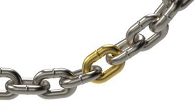 Platinum chain with golden link ring. On white background. Close up. 3d illustration Stock Images