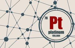 Platinum chemical element. Sign with atomic number and atomic weight. Chemical element of periodic table. Molecule And Communication Background. Connected Stock Images