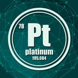 Platinum chemical element. Sign with atomic number and atomic weight. Chemical element of periodic table. Molecule And Communication Background. Connected royalty free illustration