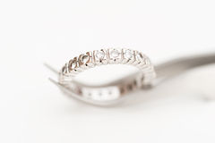 Platinum and diamonds ring Royalty Free Stock Images