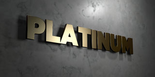 Platinum - Gold sign mounted on glossy marble wall  - 3D rendered royalty free stock illustration Royalty Free Stock Photos
