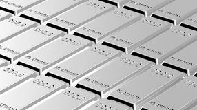 Platinum ingots background. Stock Photo