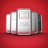 Platinum ingots on red Royalty Free Stock Photos