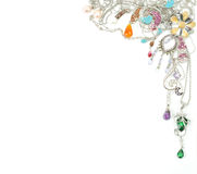 Platinum jewelry with gems Stock Images