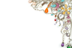 Platinum jewelry with gems Stock Photography