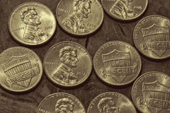 Platinum-looking Pennies Stock Images