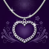Platinum necklace with  brilliants Stock Images