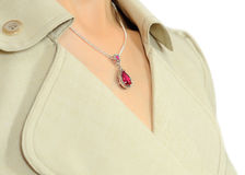 Platinum pendant with ruby. Platinum pendant with a ruby ??on a silver chain stock photography