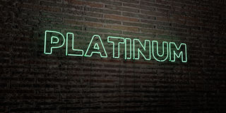 PLATINUM -Realistic Neon Sign on Brick Wall background - 3D rendered royalty free stock image Stock Images