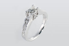 Platinum ring with diamonds. Over white background Royalty Free Stock Photo