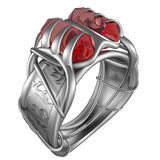 Platinum Ring with Rubies. Render of a 3D model royalty free illustration