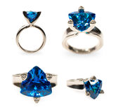 Platinum ring with a sapphire in different angles Royalty Free Stock Photo