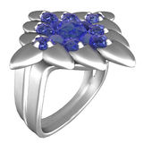 Platinum Ring with Sapphires Stock Images
