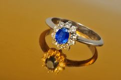 Platinum sapphire ring Royalty Free Stock Photo