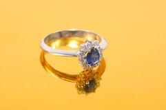 Platinum sapphire ring Royalty Free Stock Image