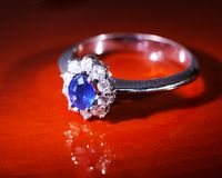 Platinum sapphire ring Stock Image