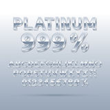 Platinum Silver Font and Numbers. Eps 10 Vector, Editable for any Background Royalty Free Stock Photos