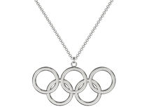 Platinum or silver olympic rings pendant on chain Stock Photos