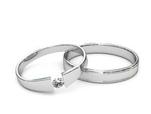 Platinum or silver rings with diamond Royalty Free Stock Photo
