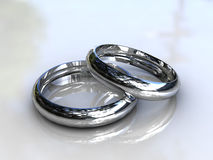 Platinum wedding bands - fine jewelry Stock Image