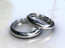 Platinum wedding bands - fine jewelry. 3d Stock Image