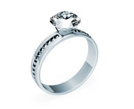 Platinum Wedding Ring with Diamonds Stock Image