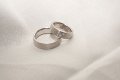 Platinum wedding rings. Are waiting for their use Stock Image