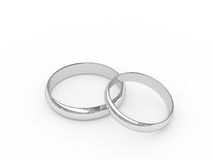 Platinum wedding rings. Platinum or silver wedding rings on white background. High resolution 3D image Royalty Free Stock Image