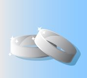 Platinum wedding rings. Vector illustration Stock Image