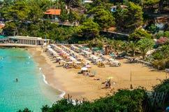 Platis Gialos και παραλία Makris Gialos, νησί Kefalonia, Ελλάδα Στοκ φωτογραφία με δικαίωμα ελεύθερης χρήσης