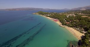 Platis Gialos beach and Makris Gialos beach stock video