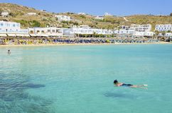 Platis Gialos beach, Mykonos, Greece Stock Images