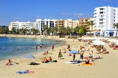 Platja de圣诞老人尤拉莉亚海滩在圣诞老人Eularia des Riu,伊维萨岛是 免版税库存图片