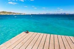 Пристань пляжа Мальорки Platja de Alcudia в Майорке Стоковая Фотография RF