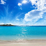 Platja de Alcudia beach in Mallorca Majorca. At Balearic islands of Spain Stock Images
