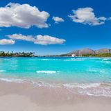 Platja de Alcudia beach in Mallorca Majorca. At Balearic islands of Spain Royalty Free Stock Image
