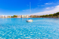 Platja de Alcudia beach in Mallorca Majorca. At Balearic islands of Spain Stock Photography