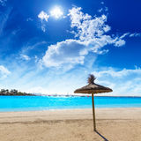 Platja de Alcudia beach in Mallorca Majorca. At Balearic islands of Spain Stock Photos
