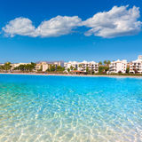Platja de Alcudia beach in Mallorca Majorca. At Balearic islands of Spain Royalty Free Stock Photo