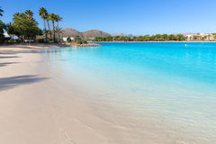 Platja de Alcudia beach in Mallorca Majorca. At Balearic islands of Spain Royalty Free Stock Photography